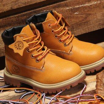 Hot Sale Autumn Winter Children's Fashion Shoes Korean Style Leather Snow Boots Warm Martin Boots For Kids/Girls/Boys (Yellow) - intl