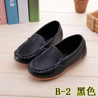 Hot Selling Boys and Girls Casual Shoes Beans Shoes Cute SolidPrincess Soft Soled Shoes Black - intl