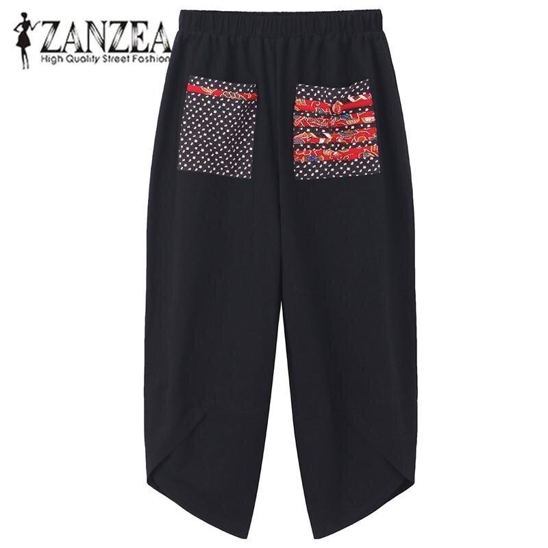Hot ZANZEA 2017 Autumn Women Polka Dot Retro Print Pockets Loose Elastic Waist Cotton Linen Harem Pants Leisure Long Trousers Plus Size Pantalon Black - intl