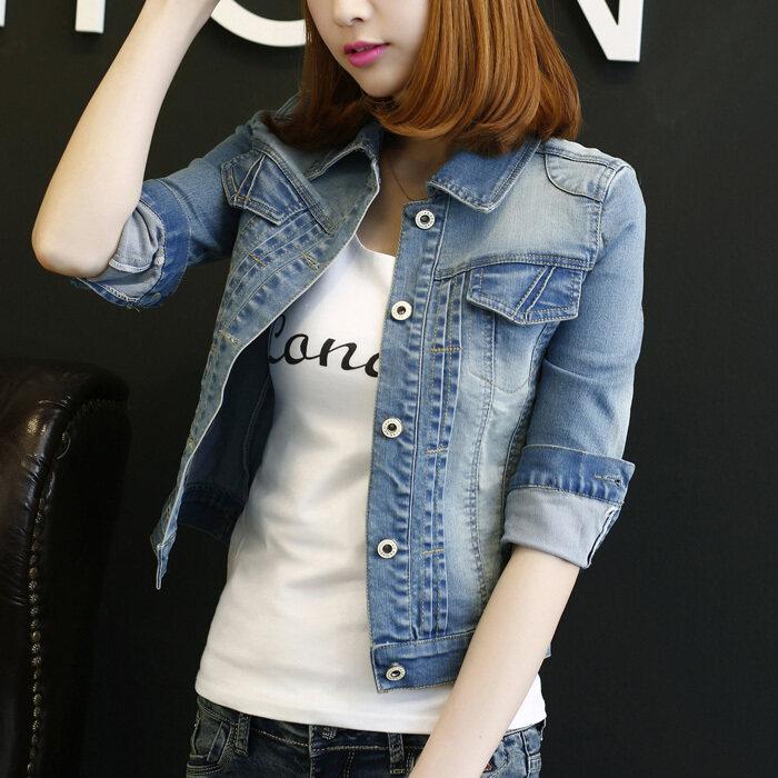 ขาย HUO YU เสื้อคลุมแขนยาวคาวบอย สไตล์ผู้หญิงเกาหลี เข้ากับทุกรูปแบบได้ (แสงสีฟ้าแขน)