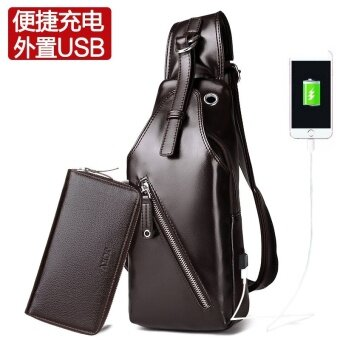I เกาหลีนักศึกษาใหม่น้ำแพ็คเก็ตกระเป๋าหน้าอก (สุทธิใบหน้าสีน้ำตาล-พร้อมกระเป๋า (ชาร์จ USB อัพเกรด))