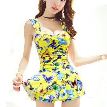 IIS ชุดว่ายน้ำ รุ่น สไตล์แฟชั่นเกาหลี ลายผีเสื้อสีฟ้า(Butterfly Yellow)