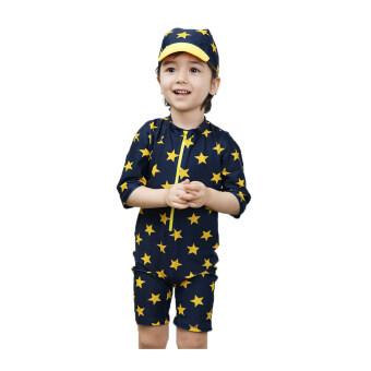 IISชุดว่ายน้ำสำหรับเด็กชายประมาณ3-7ขวบ พร้อมหมวกกันแดด-Yellow Star (Blueสีน้ำเงิน)
