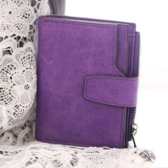 ลาวีขัดหนังสตรีกระเป๋าสตางค์เหรียญเงินที่เก็บบัตรการออกแบบ (สีม่วง)