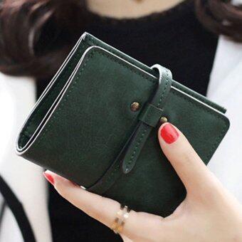 ลาวีมินิน่ารัก ๆ กระเป๋าสตางค์กระเป๋าถือกระเป๋าคลัตช์สั้นที่เก็บบัตรประชาชน (สีเขียว)