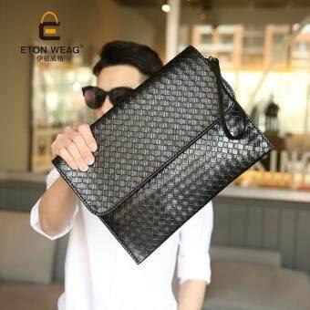 คล้ายคนเกาหลีกระเป๋าถือกระเป๋าส่งแพคเกจเรียนถักกระเป๋าคลัตช์เพศเดียวบางแฟ้มกระเป๋าถือกระเป๋าสะพาย-สีดำ