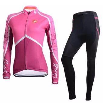 ชุดขี่จักรยานแขนยาวขายาว ผู้หญิง Castelli (สีชมพู)