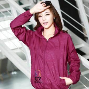 Smartshopping เสื้อกันแดด เสื้อคลุมกันแดด เสื้อกัน UV เสื้อแขนยาวกันยูวี ไซส์ XXL (สีม่วง)
