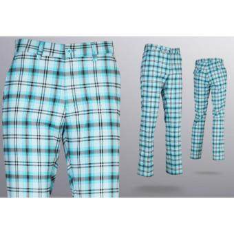 EXCEED กางเกงกอล์ฟผู้ชายขายาว #18 สีฟ้าลายสก็อต (KUZ003) PGM Men's Golf PANTS Gentleman Plaid Quick Dry Sport Trousers Summer Breathable Short XXS-3XL BLUE COLOUR