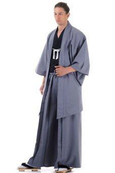 Princess of asia ชุดฮากามะพร้อมเสื้อคลุมฮาโอริ (สีดำ-เทา)