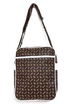 DM กระเป๋าสะพายข้างลายกุญแจ - สีนำ้ตาล