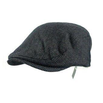 Freebang ผู้หญิงผู้ชายสวมหมวกผ้าขนสัตว์ลาย Gatsby สวมหมวกกอล์ฟหมวกแบนคนขับตลอดไป