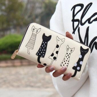 ลาวีแมวการ์ตูนสร้างสรรค์กระเป๋าสตางค์ที่เก็บบัตรประชาชนแบบธรรมดาสตรีไปรษณีย์คลัตช์ (ขาว)
