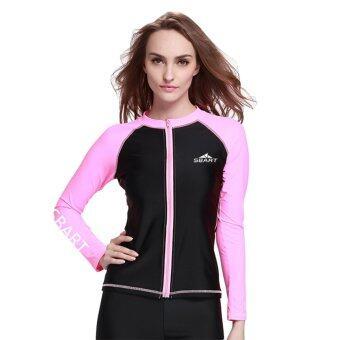 เสื้อสตรีเสื้อว่ายน้ำดำน้ำสน็อกเกิ้ลเว็ทสูทสวมเสื้อเชิ้ตแขนยาวใส่ชุดว่ายน้ำเล่นยามราช-สีชมพู