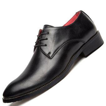 PINSV ธุรกิจรองเท้าผู้ชายรองเท้าออกซ์ฟอร์ดทางการลูกไม้ขึ้น (สีดำ)