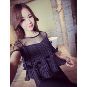 Korean new fashion sexy solid color lace stitching double flounce coat women เสื้อสีดำ ขนาดฟรีไซส์