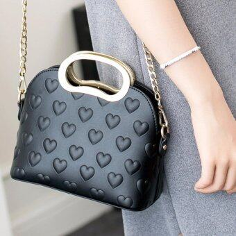 AXIXI กระเป๋าแฟชั่น รุ่น Golden Handle Black Heart สีดำ