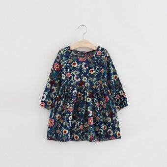 Harga Fashion Floral Skirt Baby Girls Cotton long-Sleeve Dress Floral Skirt Children Princess Dress-Blue - intl