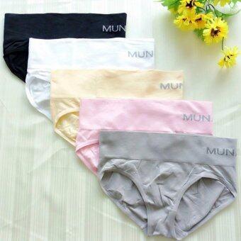 MUNAFIE กางเกงในเก็บพุง ทรงบิกินี่ (สีดำ+สีขาว+สีเนื้อ+สีชมพู+สีเทา) - 5 ตัว