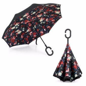 Reverse Umbrella ร่มหุบกลับด้านมือจับตัว C( ลายการ์ดอกกุหลาบป่า)