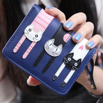 ลาวีมินิน่ารัก ๆ กระเป๋าสตางค์ซิปแมวที่เก็บบัตรเงิน (น้ำเงิน)