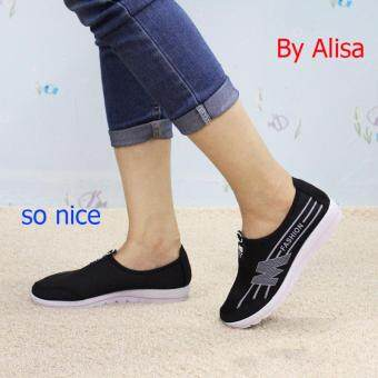 Alisa Shoes รองเท้าผ้าใบแฟชั่น รุ่น 99Q046 Black