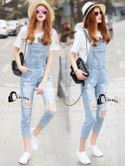 Elisa Thailand เสื้อผ้าแฟชั่นสไตล์เกาหลี Cliona Made' Extra Used Strap Bib Denim Jean