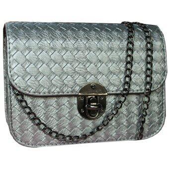 Peimm Modello กระเป๋าสะพาย แฟชั่นเกาหลี (สีเงิน)