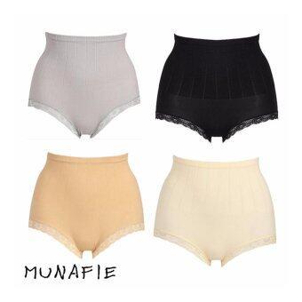 MUNAFIE JAPAN กางเกงในกระชับสัดส่วน กางเกงในเก็บพุง (สีครีม+สีเนื้อ+สีเทา+สีดำ) 4pcs