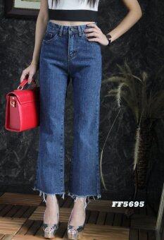 Platinum Fashion กางเกงยีนส์ขายาวเอวสูง ทรงบอย รุ่นFF5695