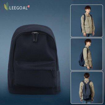 Leegoal ลำลองสำหรับบุรุษและกระเป๋าสะพายกระเป๋าเป้สีทึบ (สีดำ ผ้าใบ)