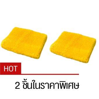ปลอกรัดข้อมือซับเหงื่อ สำหรับออกกำลังกาย สีเหลือง (Yellow) x2