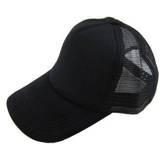 หมวกหมวกเบสบอลนิยมเล่นแข็งหมวกหน้ากากตาข่ายว่างเปล่าสีดำ