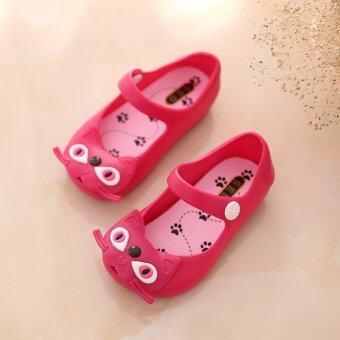 PAlight ลูกแมวน่ารักรองเท้าแตะเยลลี่ (กุหลาบแดง 29)