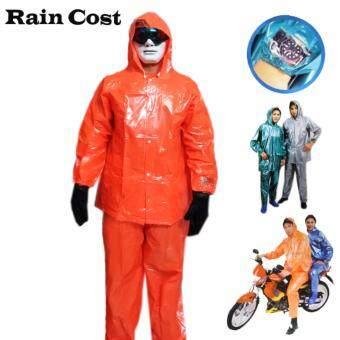 ชุดกันฝน เสื้อกันฝน กางเกงกันฝนPVC ผ้ามุก ขนาดฟรีไซส์ (สีส้ม)