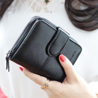 Koreaกระเป๋าสตางค์ผู้หญิง ใบสั้นมีช่องใส่เหรียญ หนัง รุ่นB099-9-F(สีดำ)