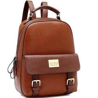 Premium Bag กระเป๋าเป้สะพายหลัง กระเป๋าเป้เกาหลี รุ่น PB019(สีน้ำตาล)