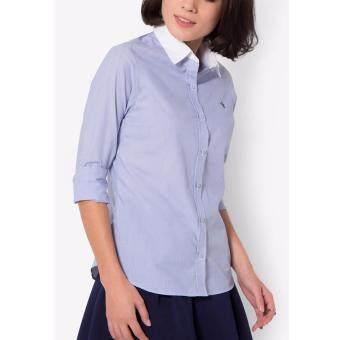 PRIMO LINEA เสื้อเชิ้ตแขนยาว ลายริ้วเล็ก รุ่น 4JW42L3095 (สีน้ำเงิน)