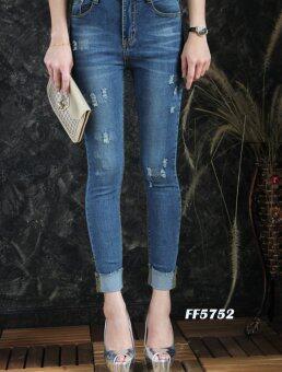 Platinum Fashion กางเกงยีนส์ขายาวเอวสูง ทรงสกินนี่ รุ่นFF5752
