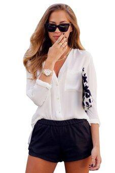 AZONE ผู้หญิงแฟชั่นหรูคอวีแขนเสื้อเชิร์ตชีฟองกระโปรงยาว (ขาว)
