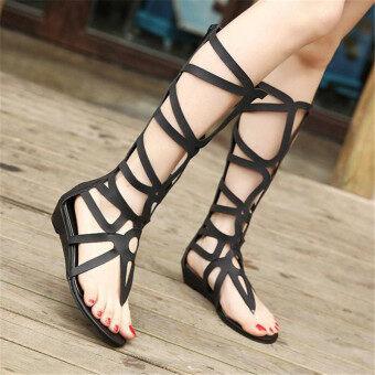ส้นเท้าผู้หญิงเซ็กซี่เปิดซิปรองเท้าบู๊ตสูงเท่าเข่ารองเท้าแตะรองเท้าแบนนักสู้