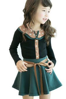 สาวแขนเสื้อยาวเรียงรายตั้งรูปแบบเสื้อยืด+แต่งตัวกระโปรง 2ชิ้น ชุดสีดำ-ระหว่างประเทศ