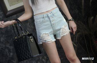 Platinum Fashion กางเกงยีนส์ขาสั้นเอวสูง แต่งขาด รุ่นMS9112