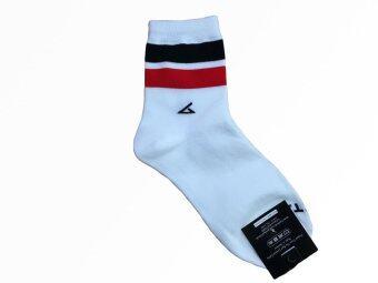 Krissy ถุงเท้าแฟชั่่น ข้อกลาง สีขาวคาดแดงดำ 1 คู่