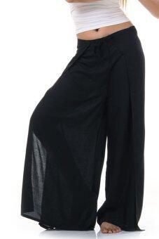 Princess of Asia กางเกงผ่าข้าง กางเกงแบบผูก กางเกงพัน (สีดำ)