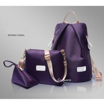 Cc jeans กระเป๋าเป้ กระเป๋าสะพายข้างสีดำ กระเป๋าเซ็ท 3 ใบ No.111(Purple)