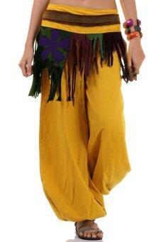 Princess of asia กางเกงแม้ว กางเกงผ้าต่อ ฮิปปี้ โบฮีเมียน (สีเหลือง)