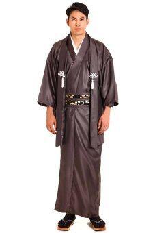 Princess of asia ชุดยูกาตะผู้ชายญี่ปุ่นพร้อมเสื้อคลุมฮาโอริ (สีน้ำตาล)