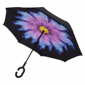 Reverse Umbrella ร่มหุบกลับด้านมือจับตัว C-ลายดอกบัวสีม่วง
