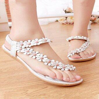 ไอร้อนดอกไม้บ้านขายร้อนรองเท้าแตะลำลองผู้หญิงโบฮีเมีย Toepost รองเท้าแฟลตขาว